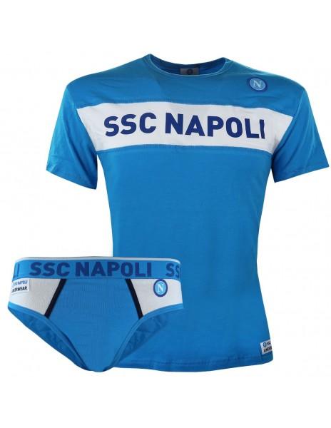 SSC NAPOLI LIGHT BLUE T-SHIRT AND BRIEF SET