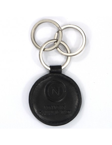 KEYCHAIN ROUND THREE RINGS IN SSC NAPOLI BLACK LEATHER
