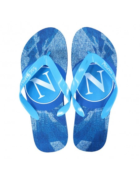 SSC NAPOLI LIGHT BLUE LOGO BOY FLIP FLOP