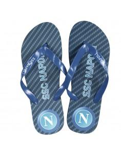 SSC NAPOLI BLACK/BLUE LOGO BOY FLIP FLOP
